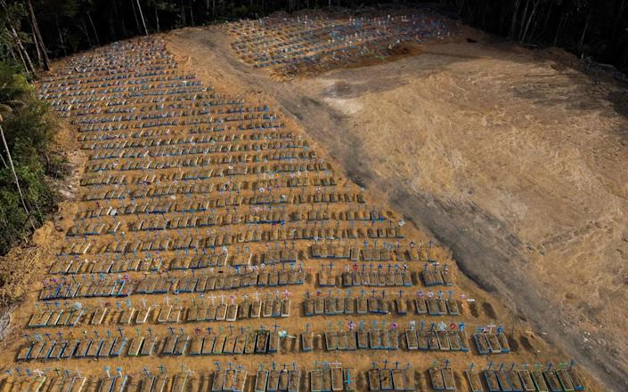 An aerial view showing graves in the Nossa Senhora Aparecida cemetery in Manaus, Brazil - AFP