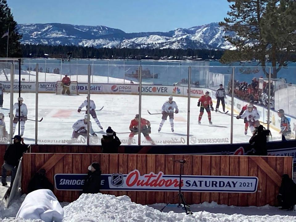 The Colorado Avalanche and Vegas Golden Knights played the first period of their outdoor game, but the final two periods were delayed until Saturday night.