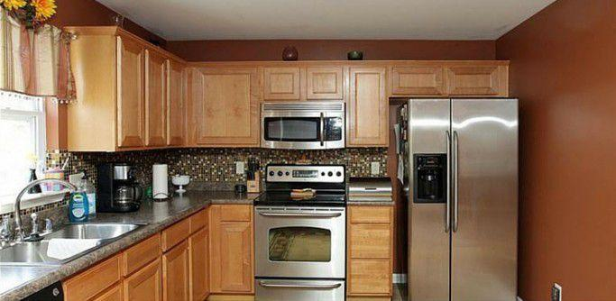 <p>These wooden cupboards were just begging for a refresh.</p>