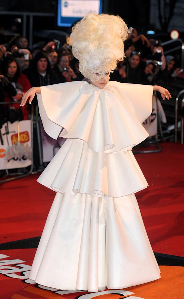Gaga was all in white for the BRIT Awards in London in February 2010 / WENN