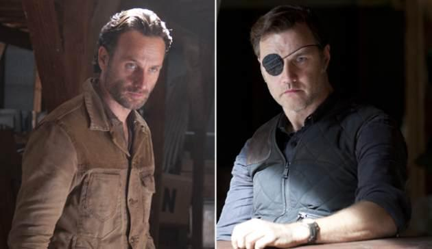 Andrew Lincoln as Rick Grimes, David Morrissey as The Governor in 'The Walking Dead' -- Gene Page/AMC