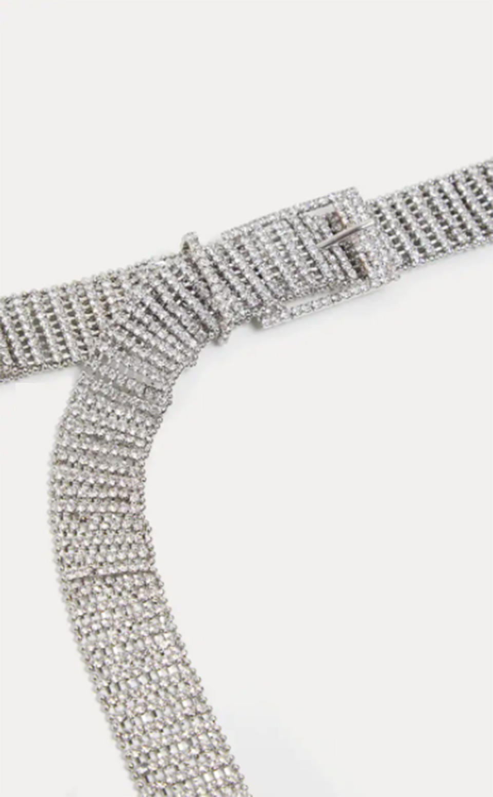 Pretty Little Thing Silver Diamante Chain Link Belt, $37 (on sale)
