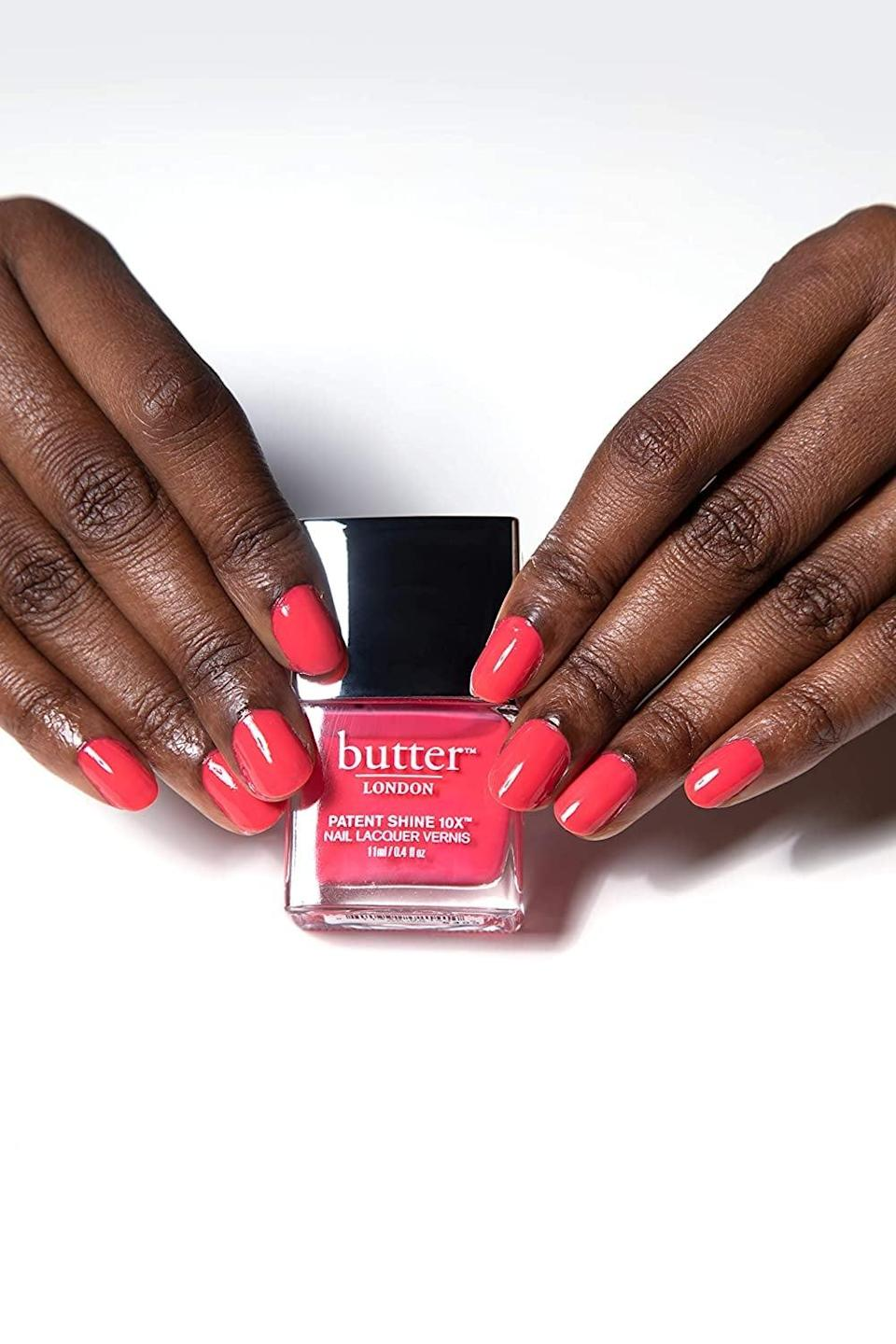 <p>Be bold with this glossy and shiney <span>Butter London Patent Shine 10X Nail Lacquer</span> ($18).</p>