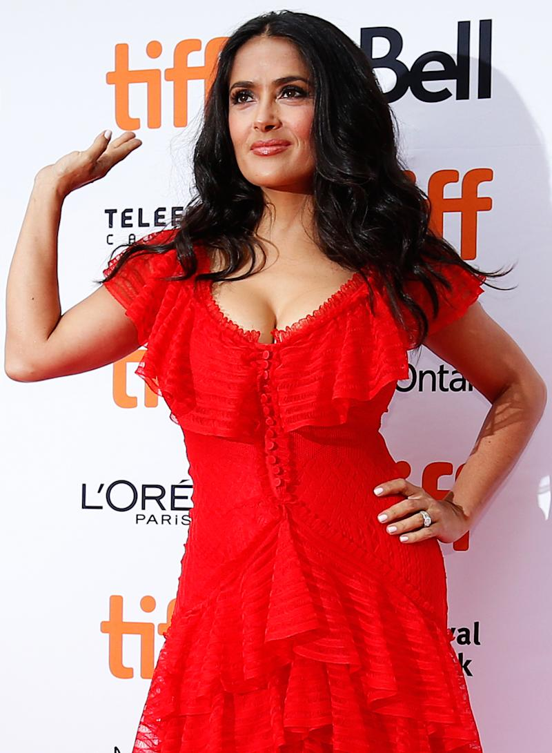 Actor Salma Hayek arrives for the world premiere of The Hummingbird Project at the Toronto International Film Festival (TIFF) in Toronto, Canada, September 8, 2018. REUTERS/Mario Anzuoni