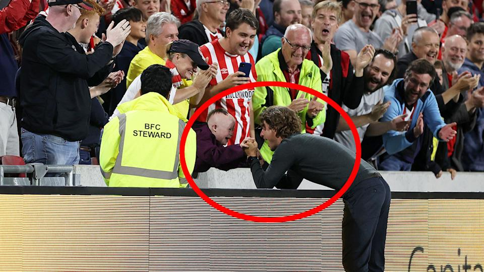 Seen here, Brentford manager Thomas Frank's magical moment with a young fan.