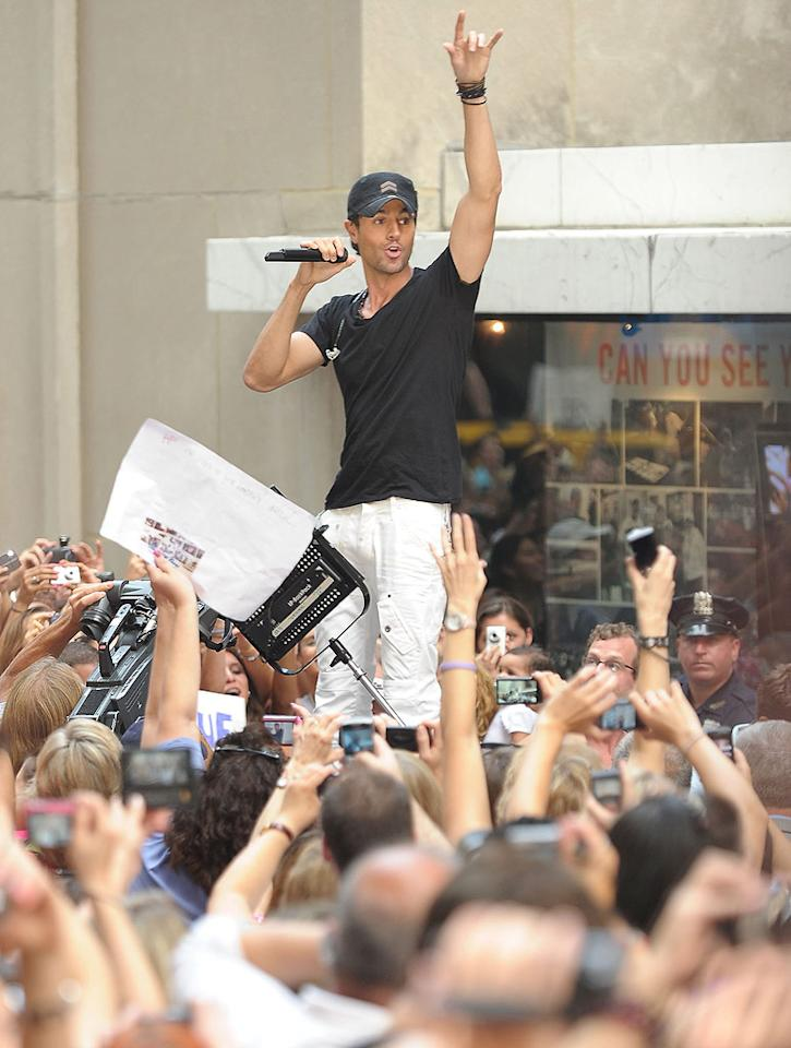 "Enrique Iglesias performed live on ""Today"" in NYC's Rockefeller Plaza Friday. Michael Loccisano/<a href=""http://www.gettyimages.com/"" target=""new"">GettyImages.com</a> - July 16, 2010"