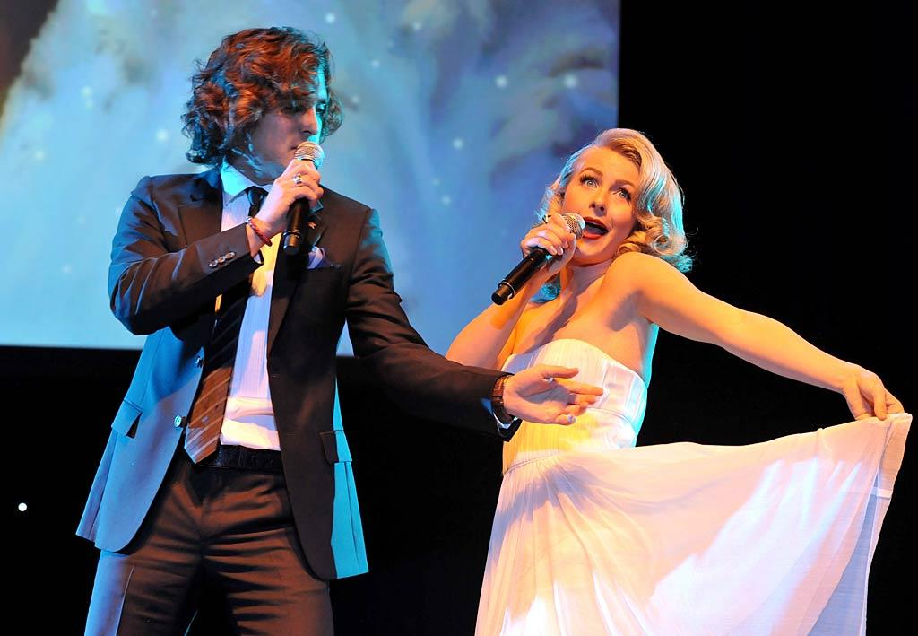 """""""Footloose"""" leading lady Julianne Hough also sang a tune, along with actor Diego Boneta. (12/4/2011)"""