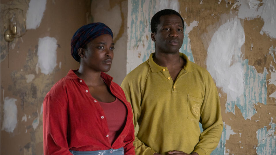 Wunmi Mosaku and Ṣọpẹ Dìrísù in 'His House'. (Credit: Aidan Monaghan/Netflix)