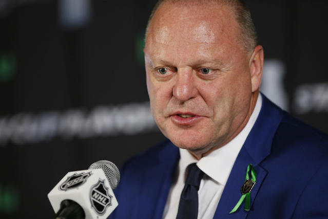 Vegas Golden Knights coach Gerard Gallant talks to media after Game 1 of the NHL hockey playoffs Western Conference finals, Saturday, May 12, 2108, in Winnipeg, Manitoba. The Winnipeg Jets defeated the Golden Knights 4-2. (John Woods/The Canadian Press via AP)