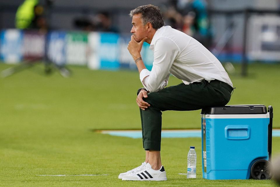 Spain's coach Luis Enrique sits during the UEFA EURO 2020 Group E football match between Spain and Sweden at La Cartuja Stadium in Sevilla on June 14, 2021. (Photo by Jose Manuel Vidal / POOL / AFP) (Photo by JOSE MANUEL VIDAL/POOL/AFP via Getty Images)