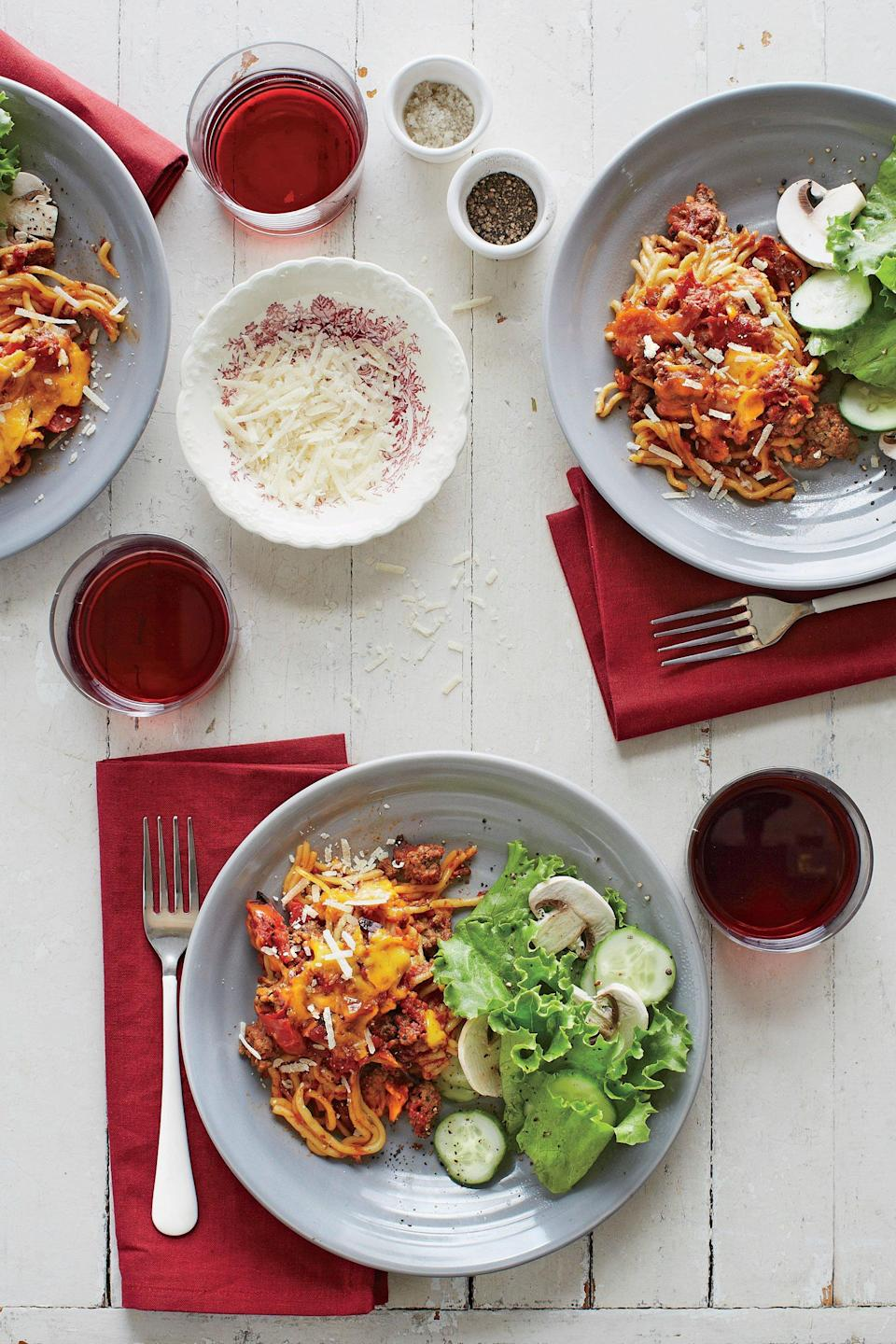 """<p><strong>Recipe: <a href=""""https://www.southernliving.com/recipes/spaghetti-casserole"""" rel=""""nofollow noopener"""" target=""""_blank"""" data-ylk=""""slk:Spaghetti Casserole"""" class=""""link rapid-noclick-resp"""">Spaghetti Casserole</a></strong></p> <p>All your favorite ingredients are featured in this easy slow-cooker version of Spaghetti Casserole.</p>"""