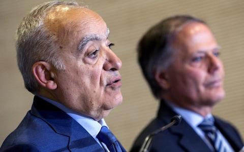 Italian Foreign Minister Enzo Moavero Milanesi (R) and the UN Special Envoy for Libya, Ghassan Salame (L) attend a joint press conference after their meeting at Farnesina Palace in Rome - Credit: ANGELO CARCONI/EPA-EFE/REX