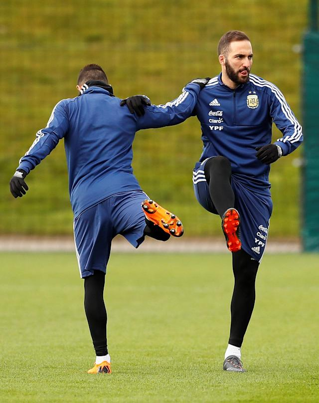 Soccer Football - Argentina Training - City Football Academy, Manchester, Britain - March 20, 2018 Argentina's Gonzalo Higuain during training Action Images via Reuters/Jason Cairnduff