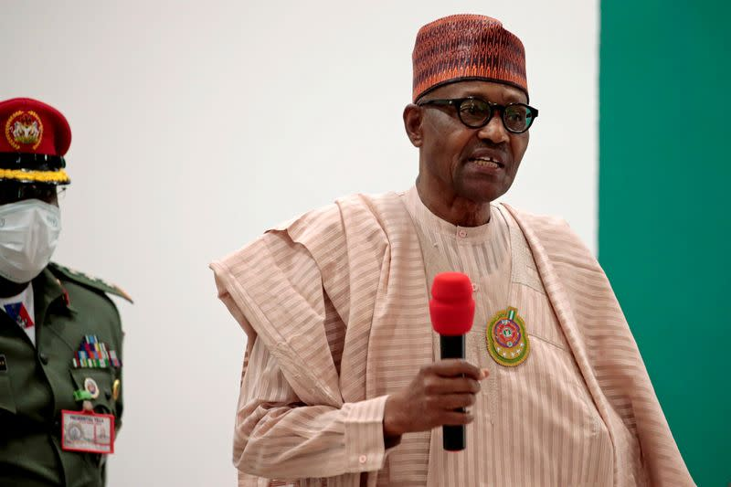FILE PHOTO: Nigerian President Muhammadu Buhari speaks after security forces rescued schoolboys from kidnappers, in Katsina, Nigeria