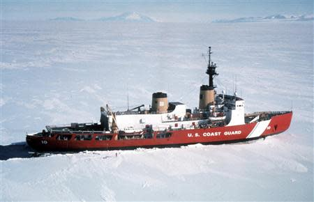 Polar Star, the U.S. Coast Guard icebreaker, is seen in a handout photo taken in Antarctica April 4, 1999. The United States is sending the Polar Star to help free Russian ship Akademik Shokalskiy and Chinese icebreaker Snow Dragon gripped by Antarctic ice, the Coast Guard said on January 4, 2013. The Polar Star is responding to a request for assistance from Australian authorities as well as from the Russian and Chinese governments, it said in a statement. REUTERS/U.S. Coast Guard/Handout via Reuters