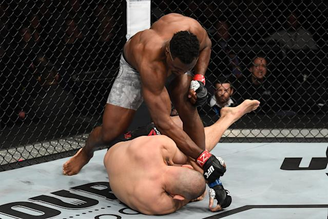 Francis Ngannou lands the finishing blows against Cain Velasquez on Sunday in Phoenix. (Getty Images)