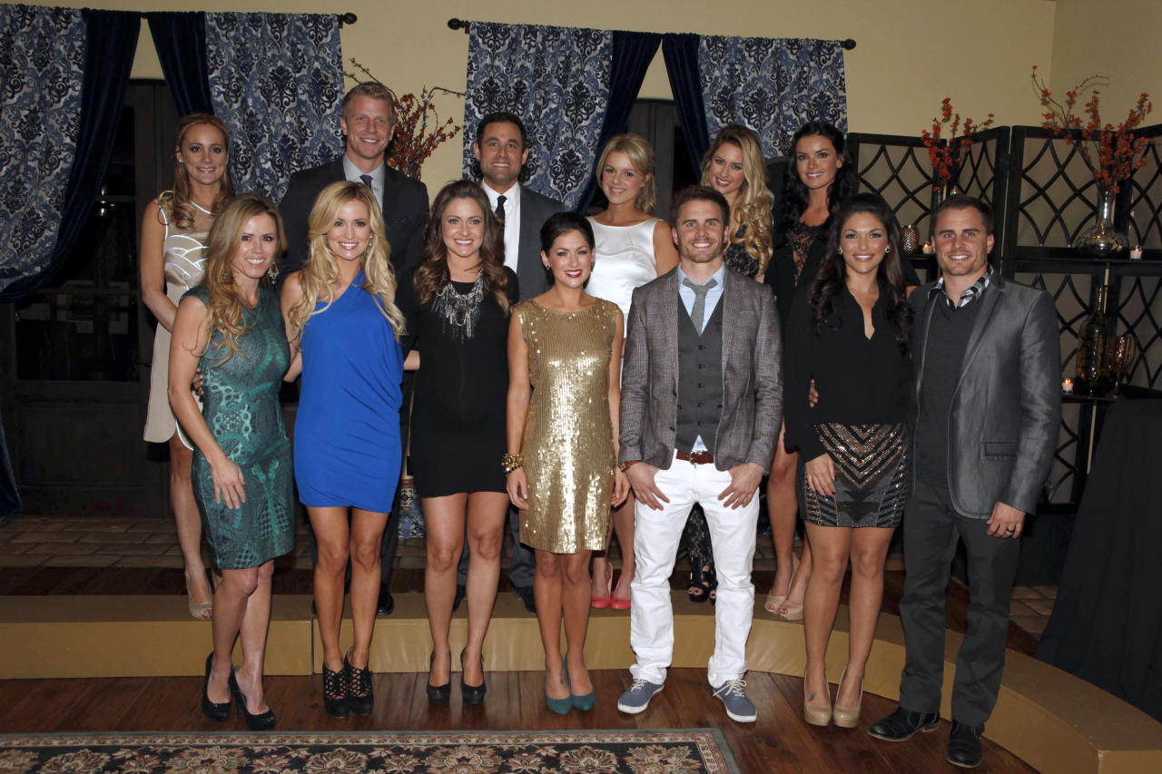 "Current Bachelor Sean Lowe (back row, second from left) joined several former Bachelors, Bachelorettes and participants at Warner Bros.? Winter TCA party celebrating 25 seasons of ""The Bachelor"" franchise at ""The Bachelor"" mansion in Agoura Hills, Calif. on Friday, January 11, 2013. ""The Bachelor"" airs Mondays at 8/7c on ABC."