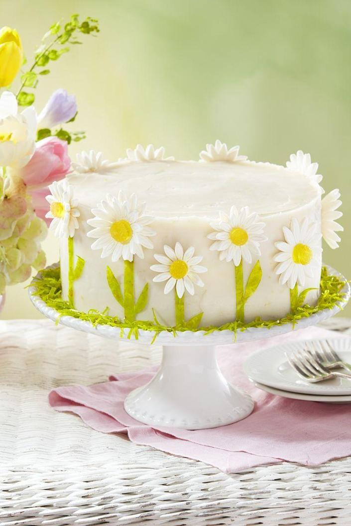 """<p>Adorn your dessert table with this stunning layered lemon cake that tastes just as good as it looks.</p><p><strong><a href=""""https://www.countryliving.com/food-drinks/a30875358/spring-daisy-lemon-layer-cake-recipe/"""" rel=""""nofollow noopener"""" target=""""_blank"""" data-ylk=""""slk:Get the recipe"""" class=""""link rapid-noclick-resp"""">Get the recipe</a>.</strong></p><p><a class=""""link rapid-noclick-resp"""" href=""""https://www.amazon.com/PME-Plunger-Cutters-Sunflower-Gerbera/dp/B000VJS2YG/?tag=syn-yahoo-20&ascsubtag=%5Bartid%7C10050.g.3185%5Bsrc%7Cyahoo-us"""" rel=""""nofollow noopener"""" target=""""_blank"""" data-ylk=""""slk:SHOP DAISY PLUNGER COOKIE CUTTERS"""">SHOP DAISY PLUNGER COOKIE CUTTERS</a> </p>"""