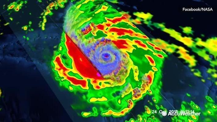NASA satellite imaging of Typhoon Yutu before it struck the Northern Mariana Islands in October. (AccuWeather)