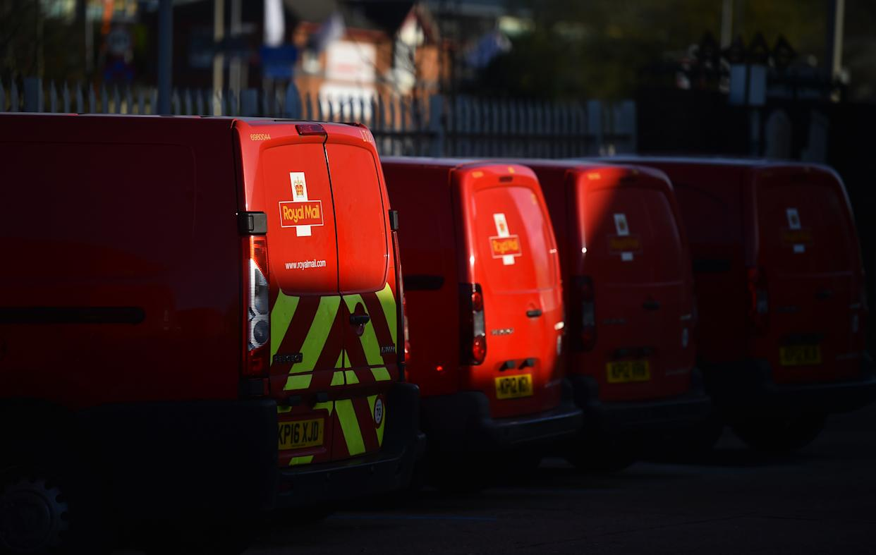 STOKE-ON-TRENT, ENGLAND - NOVEMBER 22: Royal Mail vans are seen outside a Delivery Office on November 22, 2020 in Stoke-on-Trent, England. (Photo by Nathan Stirk/Getty Images)