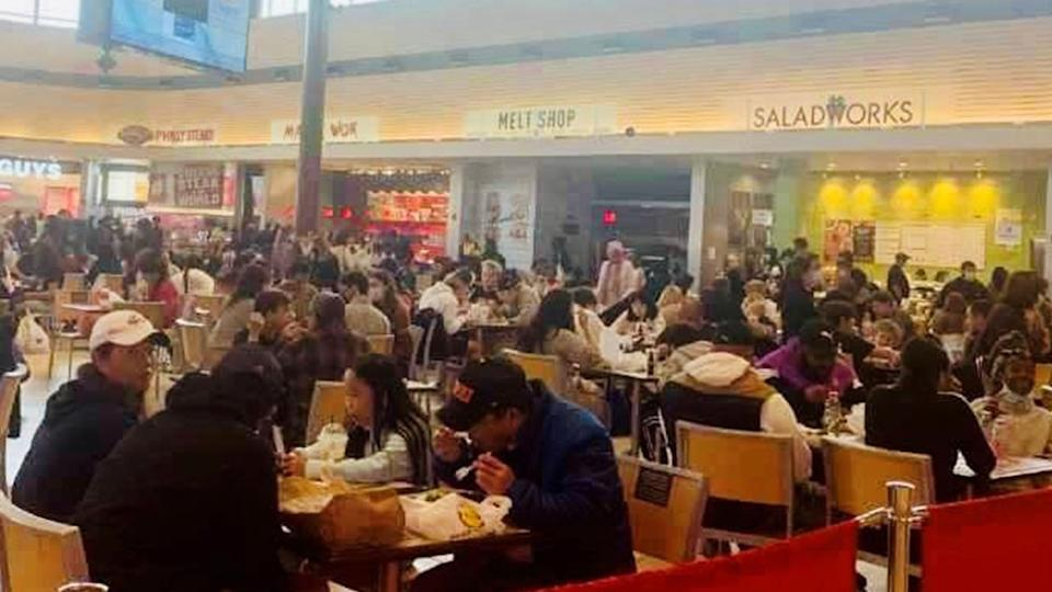 The images taken at the food court at Christiana Mall in Delaware prompted outrage.