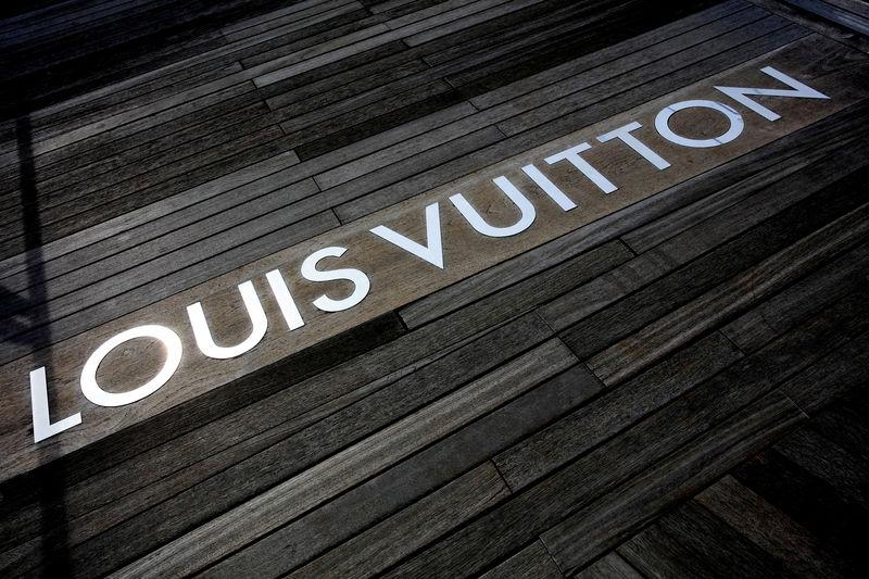FILE PHOTO: The Louis Vuitton logo is seen on the floor of their shop at Marina Bay Sands in Singapore
