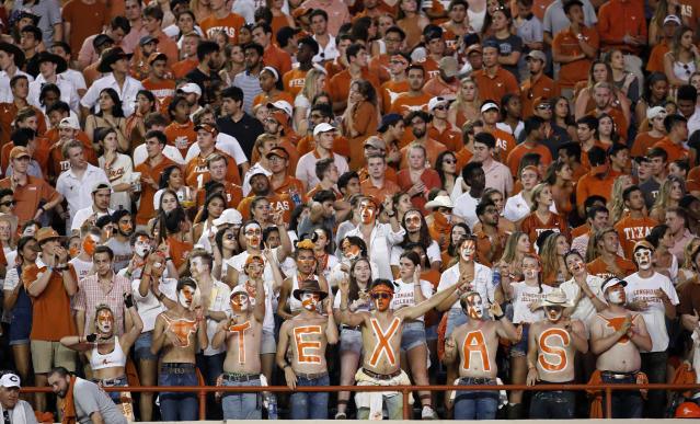 Texas Longhorns fans watch the game against the LSU Tigers, Saturday Sept. 7, 2019 at Darrell K Royal-Texas Memorial Stadium in Austin, Tx. ( Photo by Edward A. Ornelas )