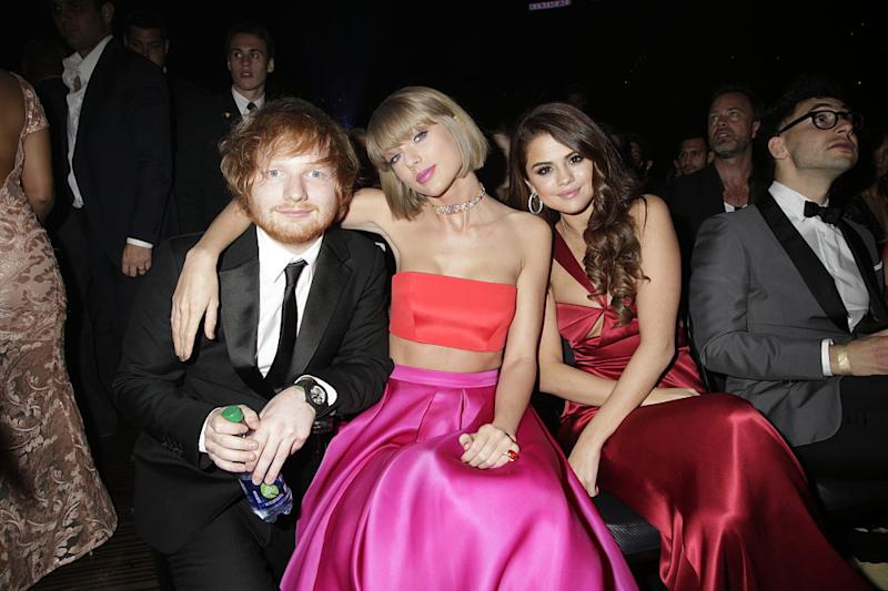 Ed Sheeran, Taylor Swift, and Selena Gomez in the audience at The 58TH ANNUAL GRAMMY AWARDS on Monday, Feb. 15, 2016. | CBS via Getty Images—2016 CBS Photo Archive