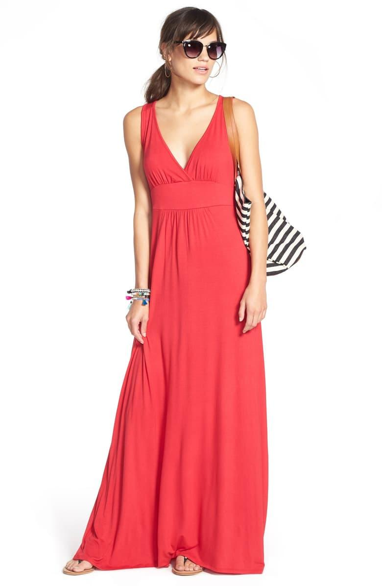 Loveappella V-neck Jersey Maxi Dress in red lipstick