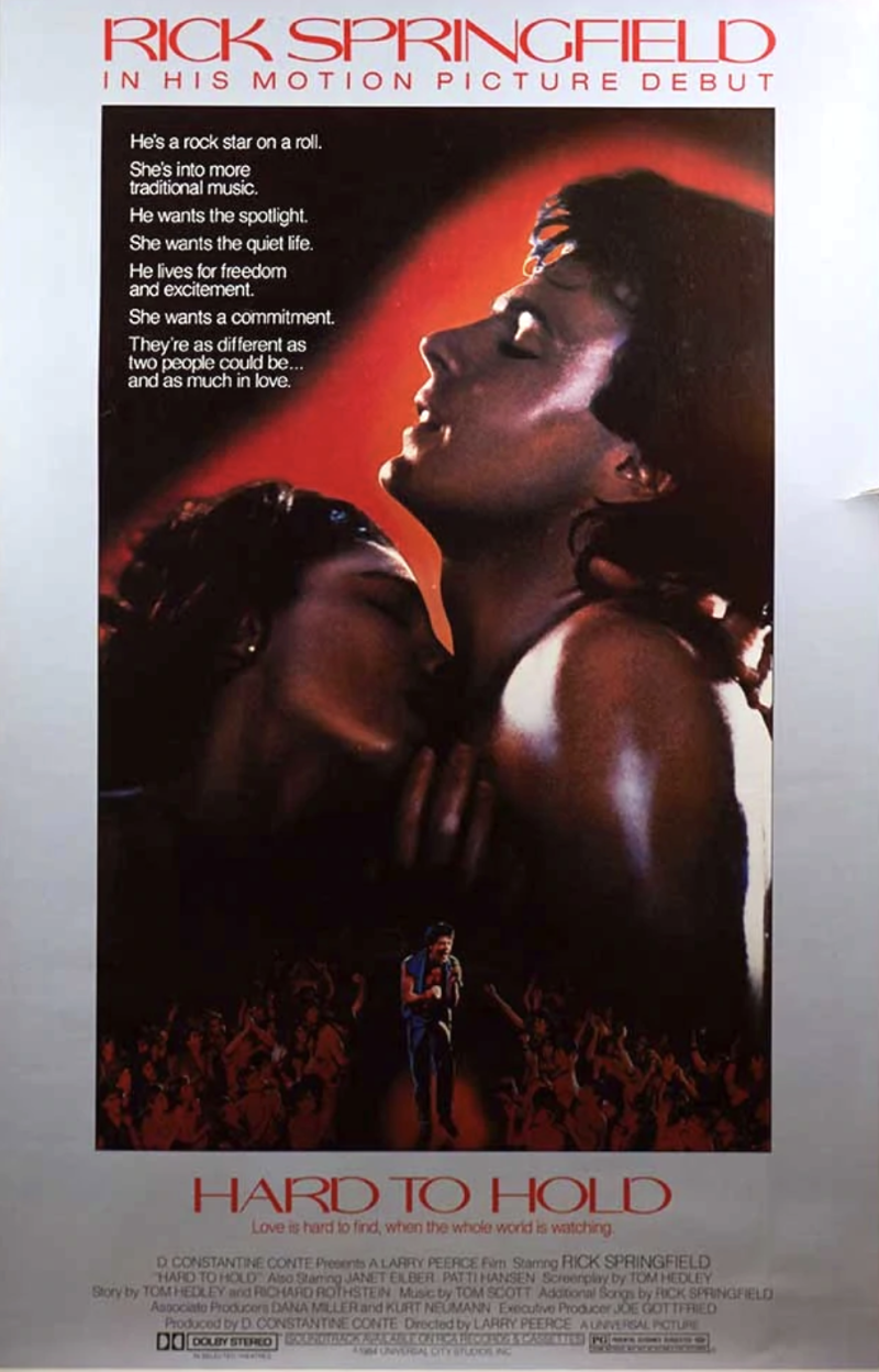 'Hard to Hold' movie poster, 1984. (Photo: Universal Pictures)