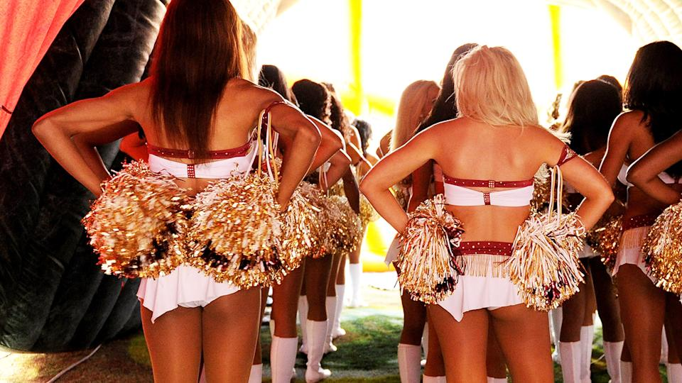 Washington Redskins cheerleaders, pictured here before a game in 2013.