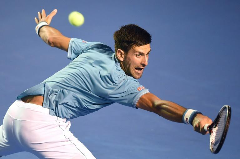 Serbia's Novak Djokovic returns the ball to Argentina's Juan Martin del Potro during their ATP Acapulco second round match, in Mexico, on March 1, 2017