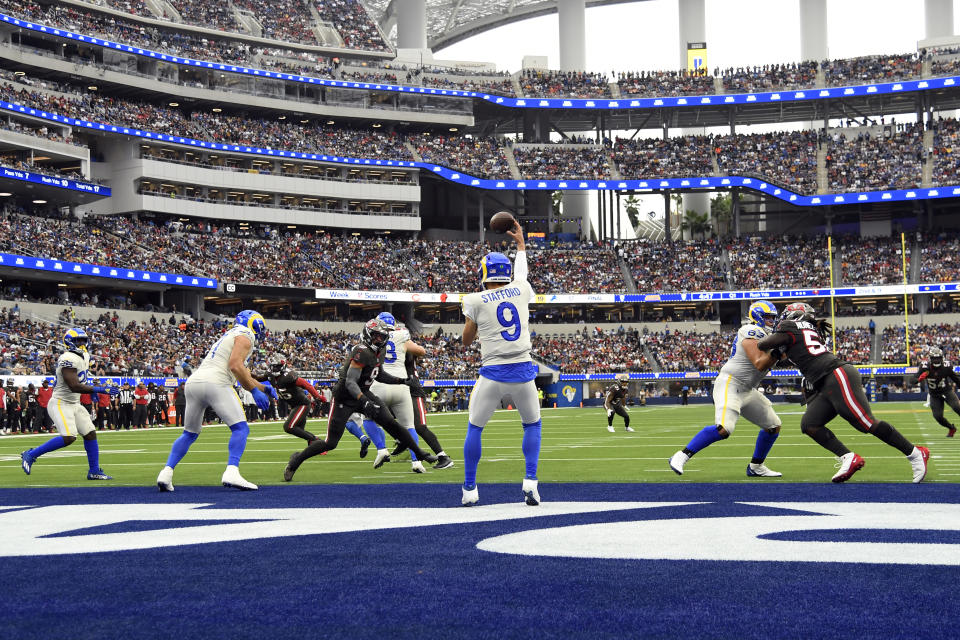 Los Angeles Rams quarterback Matthew Stafford (9) throws during the first half of an NFL football game against the Tampa Bay Buccaneers Sunday, Sept. 26, 2021, in Inglewood, Calif. (AP Photo/Kevork Djansezian)