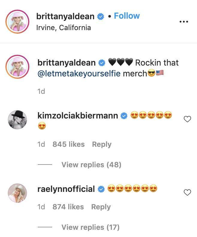 Brittany Aldean's Instagram comments included remarks from Kim Zolciak-Biermann and RaeLynn.