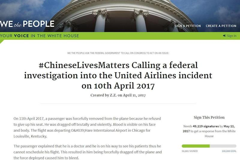 Racism accusations: A petition has been launched calling for an investigation into the United Airlines incident. (petitions.whitehouse.gov)