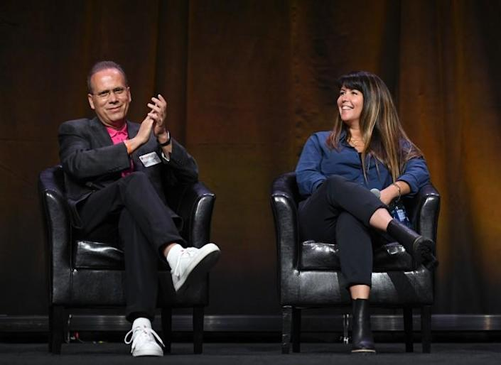 LAS VEGAS, NEVADA - AUGUST 26: (L-R) CEO & President of Marcus Theatres Rolando Rodriguez and Patty Jenkins speak onstage at CinemaCon 2021 An Industry Think Tank: The Big Screen is Back at Caesars Palace during CinemaCon, the official convention of the National Association of Theatre Owners, on August 26, 2021, in Las Vegas, Nevada. (Photo by David Becker/Getty Images for CinemaCon)