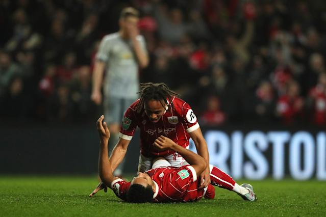 "Korey Smith celebrates his late winner for Bristol City against <a class=""link rapid-noclick-resp"" href=""/soccer/teams/manchester-united/"" data-ylk=""slk:Manchester United"">Manchester United</a>. (Getty)"