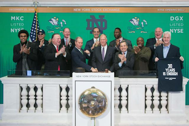 Members of Notre Dame's 1988 national championship team recently rang the opening bell at the New York Stock Exchange. (Courtesy NYSE)