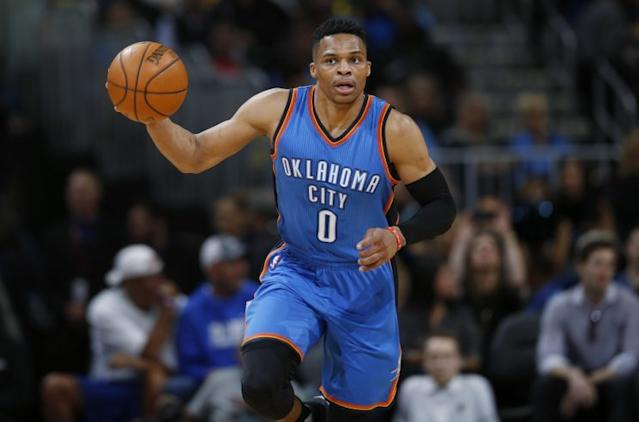 """<a class=""""link rapid-noclick-resp"""" href=""""/nba/players/4390/"""" data-ylk=""""slk:Russell Westbrook"""">Russell Westbrook</a> averaged 23.5 points, 10.4 assists and 7.8 rebounds last season. (AP)"""