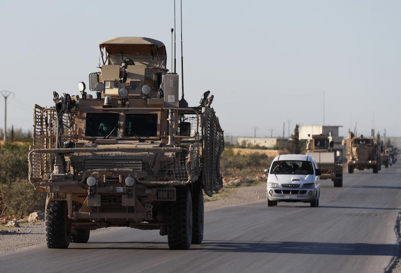 A convoy of U.S. troops in Manbij, Syria