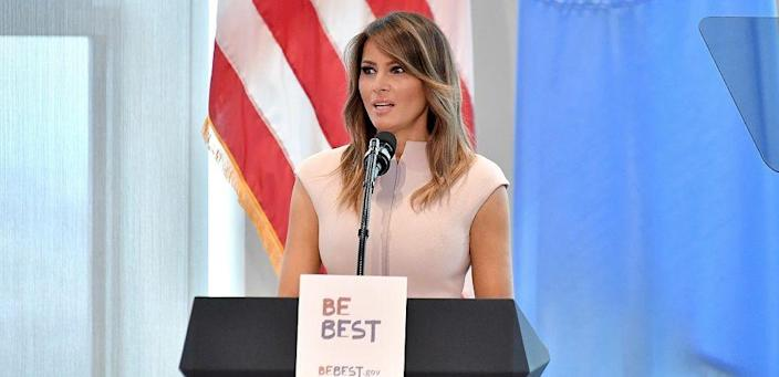 U.S. First Ladt Melania Trump speaking while on tour in Africa