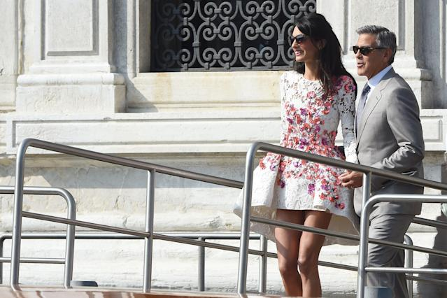 Amal Clooney wore an embellished Valli dress ahead of her 2014 wedding to actor George Clooney. (Photo: PVS/GC Images)