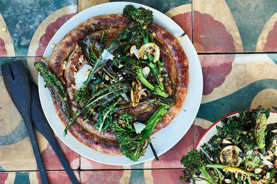 """Even sausage can dry out when overcooked; we like browning them over direct heat, then moving them to a cooler spot to finish cooking. <a href=""""https://www.epicurious.com/recipes/food/views/italian-sausage-with-grilled-broccolini-kale-and-lemon?mbid=synd_yahoo_rss"""" rel=""""nofollow noopener"""" target=""""_blank"""" data-ylk=""""slk:See recipe."""" class=""""link rapid-noclick-resp"""">See recipe.</a>"""