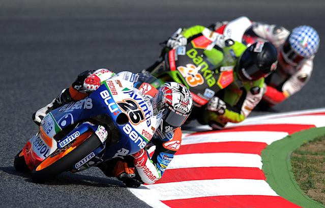 Blusens Avintia's Spanish Maverick Vinales takes a curve at the Catalunya racetrack in Montmelo, near Barcelona, on June 2, 2012, during the Moto3 qualifying session of the Catalunya Moto GP Grand Prix. AFP PHOTO/LLUIS GENELLUIS GENE/AFP/GettyImages