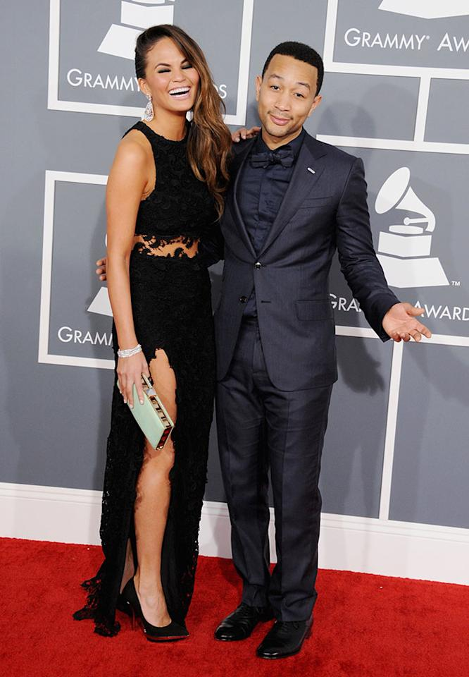 Chrissy Teigen and John Legend arrive at the 55th Annual Grammy Awards at the Staples Center in Los Angeles, CA on February 10, 2013.