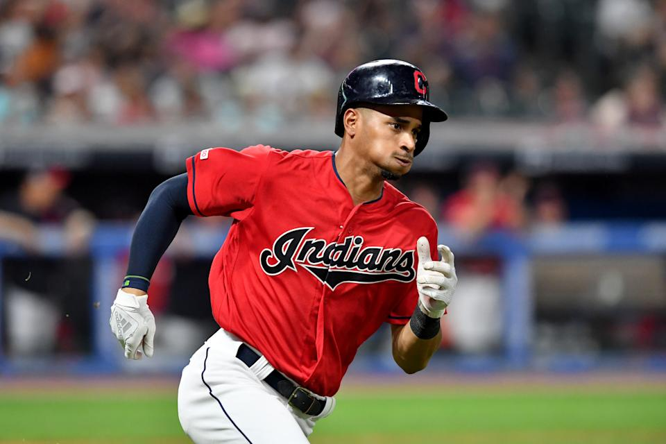 CLEVELAND, OHIO - JULY 19:  Oscar Mercado #35 of the Cleveland Indians runs out an RBI single during the sixth inning against the Kansas City Royals at Progressive Field on July 19, 2019 in Cleveland, Ohio. (Photo by Jason Miller/Getty Images)