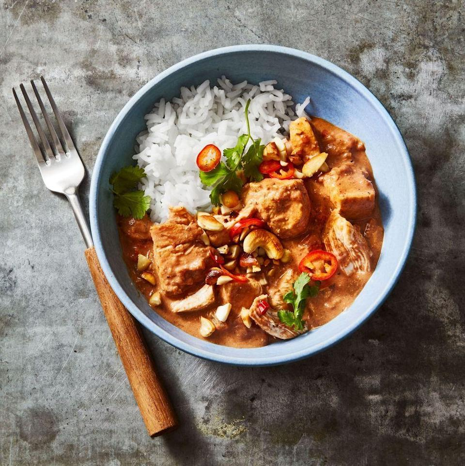 """<p>Chop up leftover turkey to add to this spicy curry, which gets its body and richness from a crazy secret ingredient (cashew butter!).</p><p><em><a href=""""https://www.goodhousekeeping.com/food-recipes/a10079/coconut-curry-chicken-recipe-ghk0510/"""" rel=""""nofollow noopener"""" target=""""_blank"""" data-ylk=""""slk:Get the recipe for Coconut Curry Turkey »"""" class=""""link rapid-noclick-resp"""">Get the recipe for Coconut Curry Turkey »</a></em></p>"""