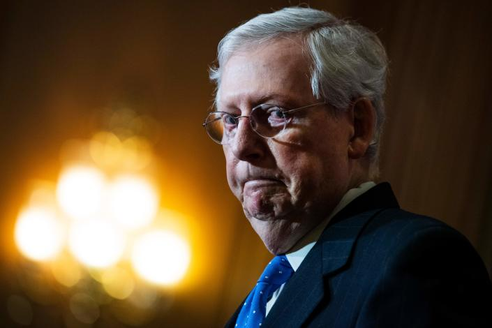 Senate Majority Leader Mitch McConnell (R-KY) speaks to reporters after the Senate Republican Policy luncheon on Capitol Hill in Washington, DC on December 1, 2020. (Photo by Tom Williams / POOL / AFP) (Photo by TOM WILLIAMS/POOL/AFP via Getty Images)