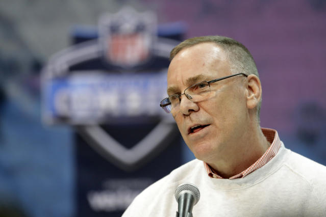 FILE - In this Feb. 28, 2019, file photo, Cleveland Browns general manager John Dorsey speaks during a press conference at the NFL football scouting combine in Indianapolis. Dorsey says hes in no rush to trade running back Duke Johnson, who has asked to be moved. During his pre-draft news conference Wednesday, April 17, 2019, Dorsey said Johnson has not reported for the Browns voluntary offseason workout program, which began on April 1.(AP Photo/Darron Cummings, File)