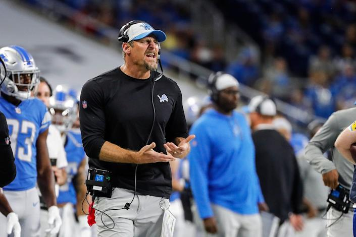 Detroit Lions head coach Dan Campbell reacts to a play  against the Buffalo Bills during the second half of the preseason game at Ford Field in Detroit on Friday, Aug. 13, 2021.